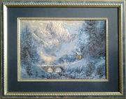 Картина «Зима в горах», гобелен ручной работы.